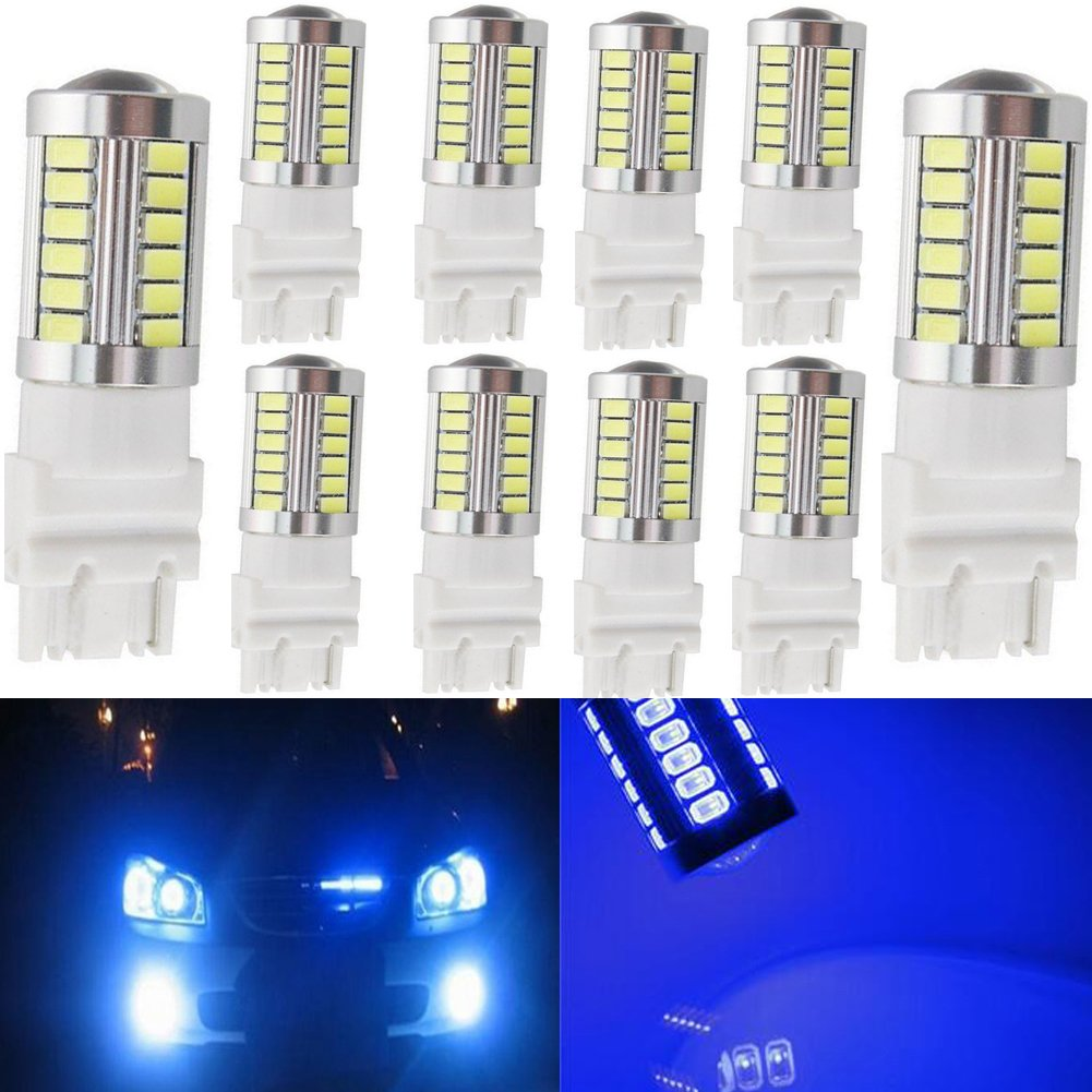 KaTur 4pcs 3157 3047 3057 3155 5630 33-SMD Amber 900 Lumens 8000K Super Bright LED Turn Tail Brake Stop Signal Light Lamp Bulb 12V 3.6W