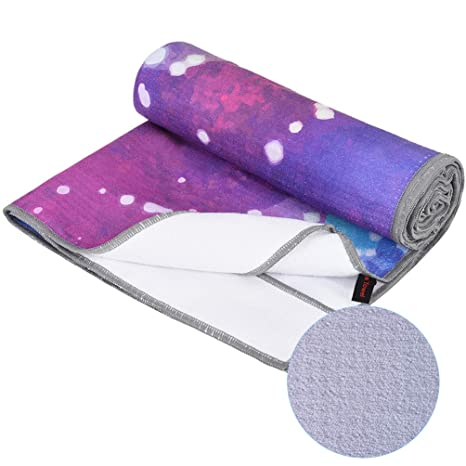 RUNACC Anti-Slip Yoga Towels Foldable Exercise Yoga Mat Ultra Absorbent Yoga Mat Towels Portable Fitness Towel with Silicone Particles, Bilateral ...