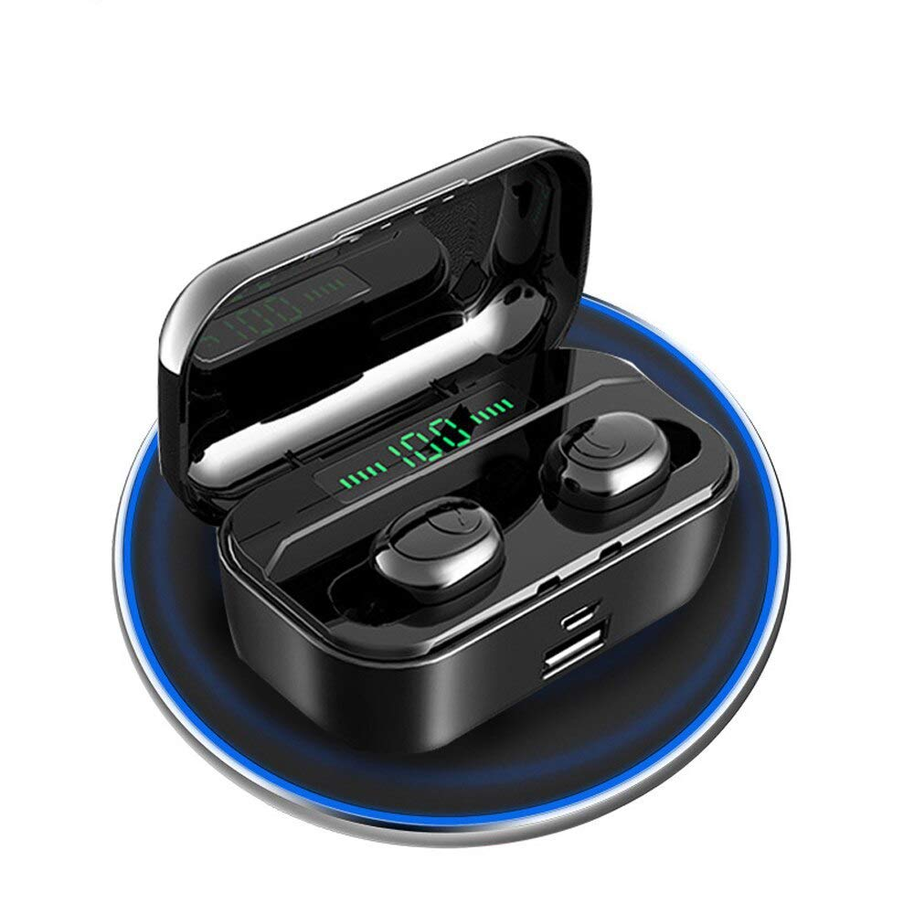 G6S Bluetooth Earbuds, Wireless Music Earbuds/Game Earphone, 8D Stereo Sound, Mini TWS, Small Charging Cabin for Portable Charger_Black