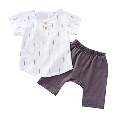 LNGRY Toldder Children Baby Boy Outfits Leaf Print Tops+Harem Pants Clothes Sets