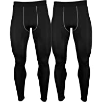 2 Packs Mens Compression Pants Soft Base Layers Legging Sports Workout Running Tights Lightweight Long Johns for Cold…