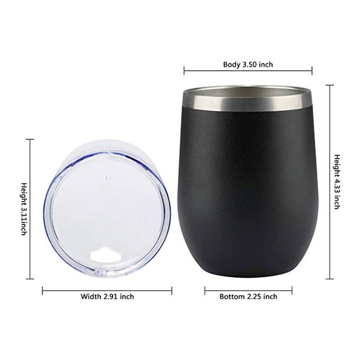 6 Pack Double-insulated Stemless Wine Tumbler with Lids and Straws 12 Oz Stainless Steel Unbreakable Wine Glass Cup Mug for Wine,Coffee,Drinks,Champagne and Cocktails,Black by Sangyn (Image #3)