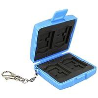 Flashwoife Turtle-SD4MSD8 staubabweisende Speicherkarten Schutzbox, patentierte Aufnahme, 4 Stück SDHC und 8 Stück MicroSD Cards Case, blau