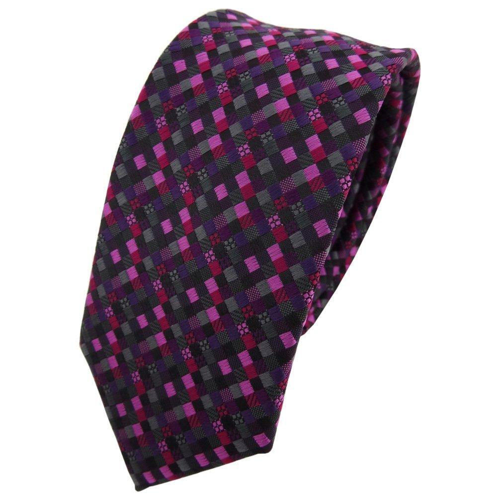 TigerTie - corbata estrecha - morado magenta rosa negro antracita ...