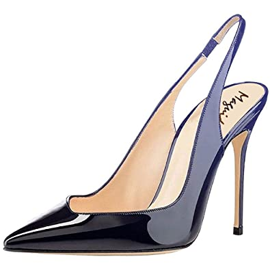 12d7fdf322 Maguidern 4 inches Heels Slingback Pumps,Patent Leather Pointy Toe  Stilettos Heel Slingbacks Party Dress