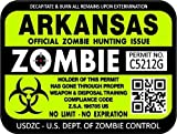 "ProSticker 1214 (TWO pack) 3""x 4"" Zombie Series ""Arkansas"" Hunting License Permit Decal Sticker"