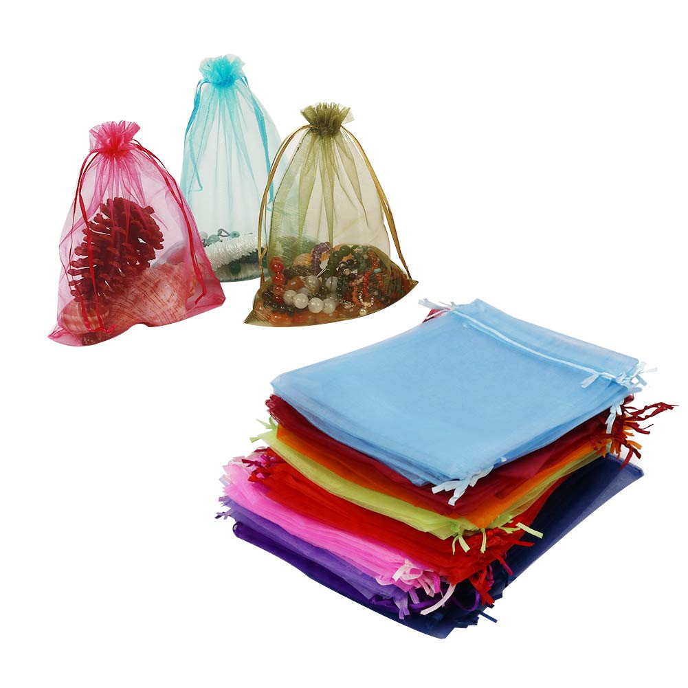 HRX Package 100pcs Organza Drawstring Bags Mixed Color, 6.5 x 8.9 inches Christmas Wedding Shower Party Favors Gift Mesh Bags Pouches for Jewelry Makeup