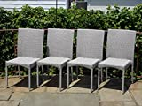 Patio Resin Outdoor Garden Yard Deck Wicker Side Chair. Gray Color (Set of 4)