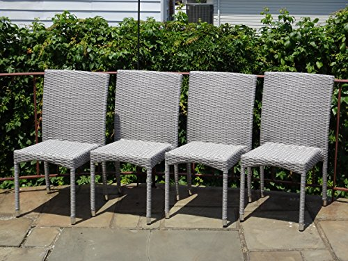 Patio Resin Outdoor Garden Yard Deck Wicker Side Chair. Gray Color (Set of 4) by Rattan Wicker Furniture