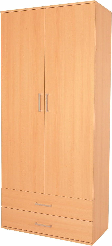 mit 2 Schubladen 80x178x39 Made in Germany ambiato Kleiderschrank Flat Vorratsschrank Buche Nb