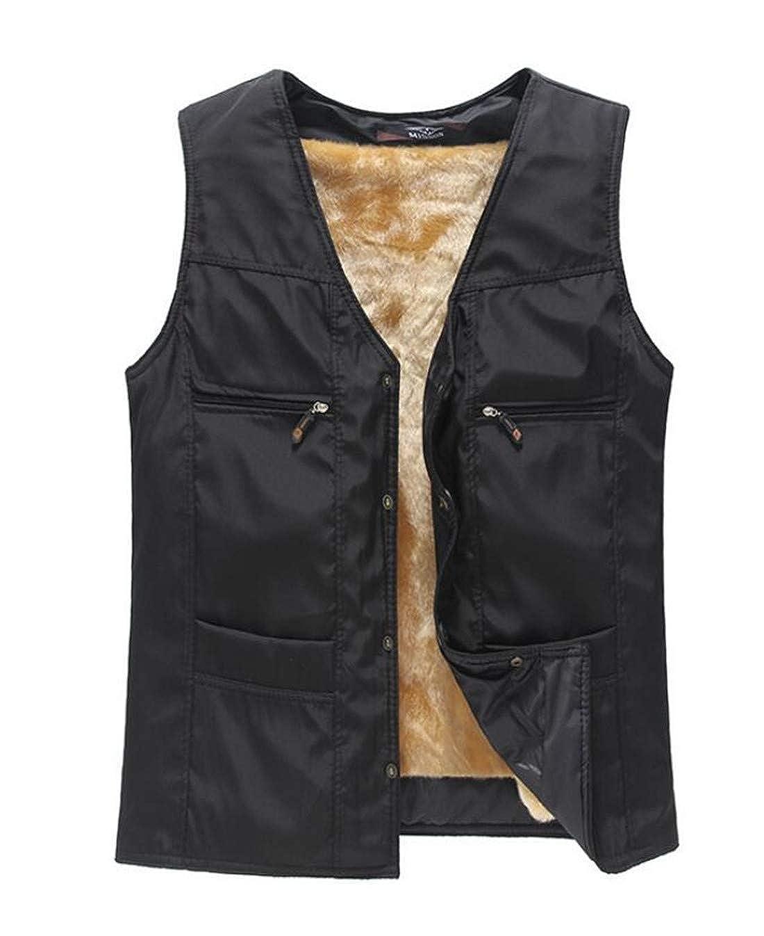 Ueioc Men Sleeveless Jacket V-Neck Quilted Fleece Lined Vest