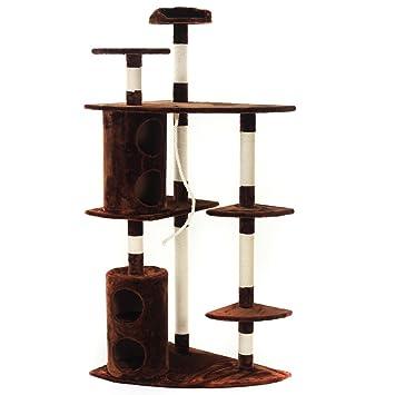 zoomundo Árbol Rascador para gatos con Rascador Torre para Rascar de Sisal Natural como cuerda y casa 180 cm - Tommy de Marrón/Blanco: Amazon.es: Hogar