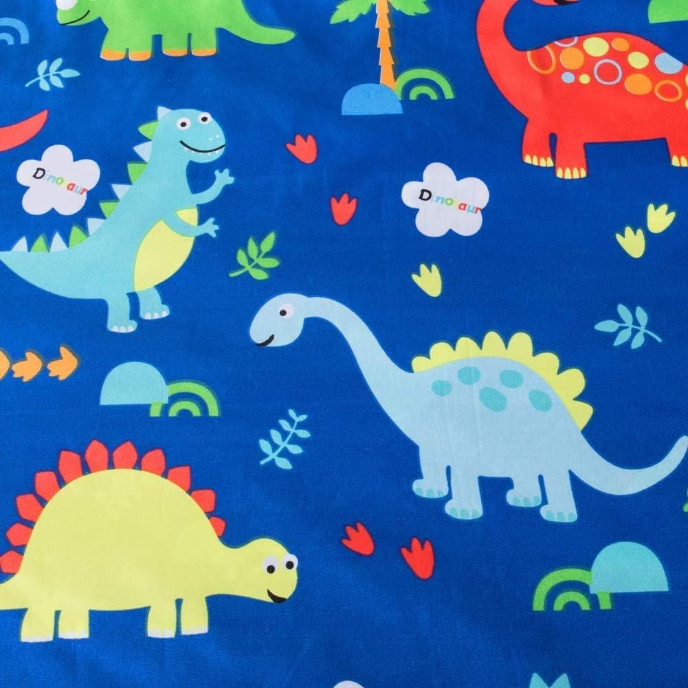 A//N Ensemble de Housse de Couette Dinosaure Bleu Roi pour Enfants
