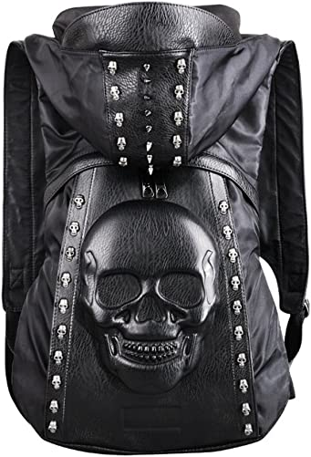 Sunlitro 3D Skull Rivet PU Leather Punk Hooded Backpack Skull