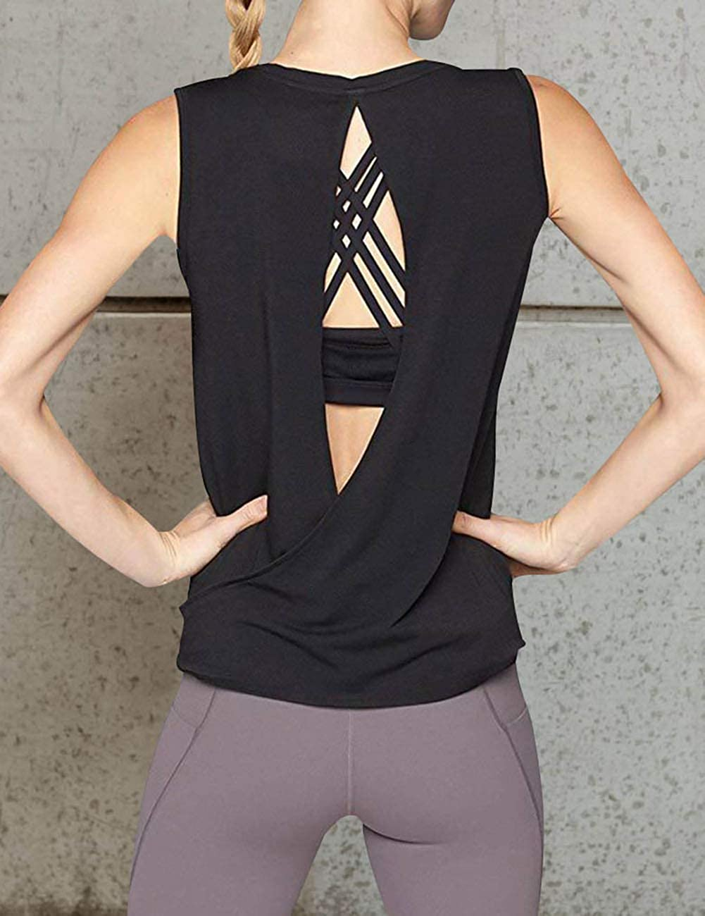 c1a84a77a96893 Amazon.com  YJQ Women s Sexy Open Back Yoga Shirt Workout Activewear Gym  Sports Tank Tops  Clothing