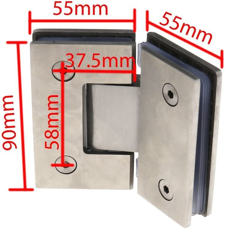 360 Degree Ranbo Heavy Duty 90 Degree Glass Door Cupboard Showcase Cabinet Clamp Frameless Pivot Glass Shower Doors Hinge Replacement Parts Wall-to-Glass,304 Stainless Steel Polished Chrome