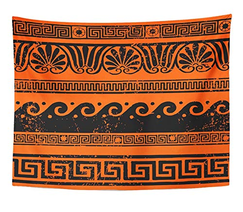 - Emvency Tapestry Wall Hanging Red Mythology Ancient Greek Border Ornaments Meanders Roman Wave Vase Rome Band 60