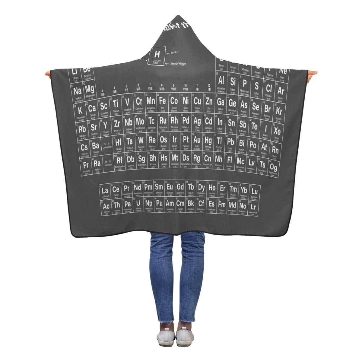 INTERESTPRINT Periodic Table of Elements Black Throw Blanket 50 x 40 inches Toddler Kid Baby Boys Girls Polar Fleece Blankets with Hood