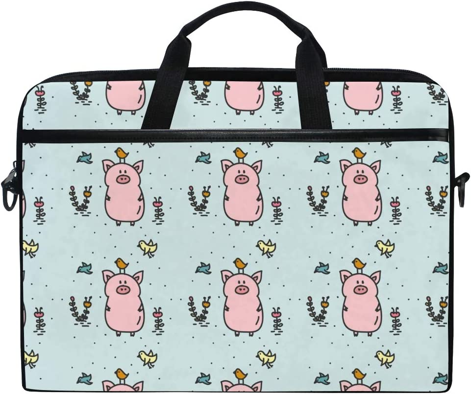 LIUBT Cute Pig Bird Floral Pattern Laptop Shoulder Messenger Bag Computer Briefcase Business Notebook Sleeve Cover Carrying Handle Bag for 14 inch to 15.6 inch