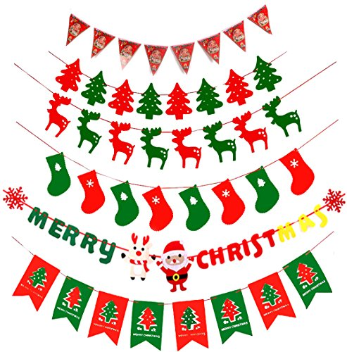 Tititina Merry Christmas Burlap Banner Flags for Christmas Party Decoration, family gathering(6Pcs)