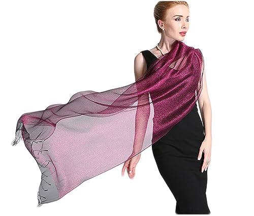 Donna Brillante Colore Solido 50% seta 50% Lurex Partito Stole Scialli Sciarpe Wrap Con Frange(Vecch...