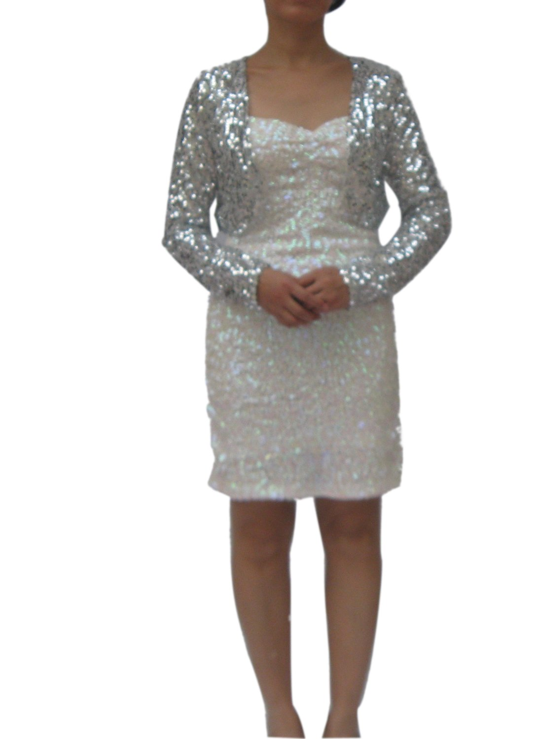 Whitewed Sequined Bolero Style Wraps Shrugs Jacket Cardigan Evening Party Gown Silver