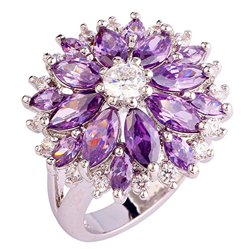 Empsoul 925 Sterling Silver Natural Chic Filled Amethyst & White Topaz Engagement Ring Floral Shaped