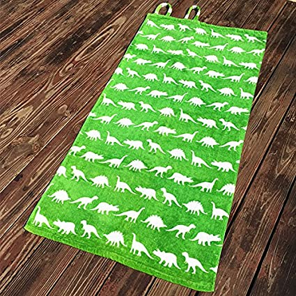 Mangeoo Fácil de algodón puro, bolsillo Mochila Toalla natación personalidad de dibujos animados dinosaurios,