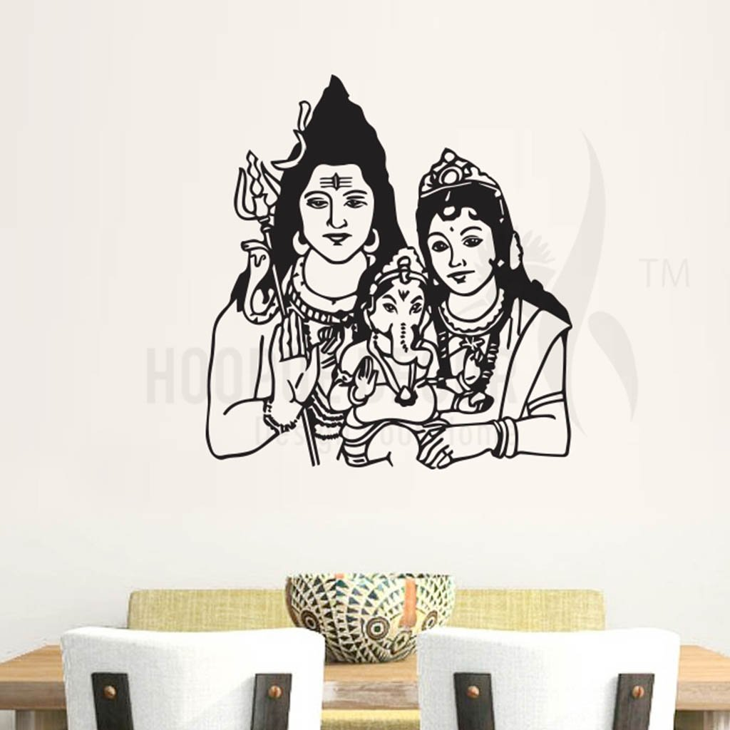 Buy Hoopoe Decor Lord Shiva With Parvati And Ganesha Wall Sticker Vinyl 56 Cm X 0 2 Cm X 52 Cm Black Hdws 0346 Bx Online At Low Prices In India Amazon In