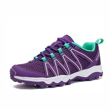 YaXuan Zapatos de Senderismo para Mujer, Zapatillas de Trekking con Cordones, Zapatillas de Deporte