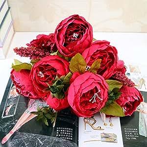 Ramo de flores de seda de peonía artificial, decoración de jardín, hogar, boda, fiesta, 13 cabezas, rosso, 47 cm