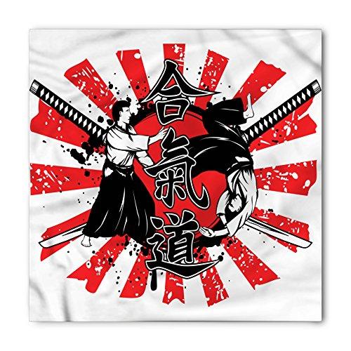 Background Black Necktie (Ambesonne Japanese Bandana, Crossed Samurai Hieroglyph Background Two Ronin Aikido Eastern Fight Style, Printed Unisex Bandana Head and Neck Tie Scarf Headband, 22 X 22 Inches, Orange Black White)