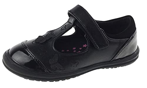 f80f96c08ad0 Lora Dora Girls Black School Shoes 3D Embroidered Butterflies 4 UK Child