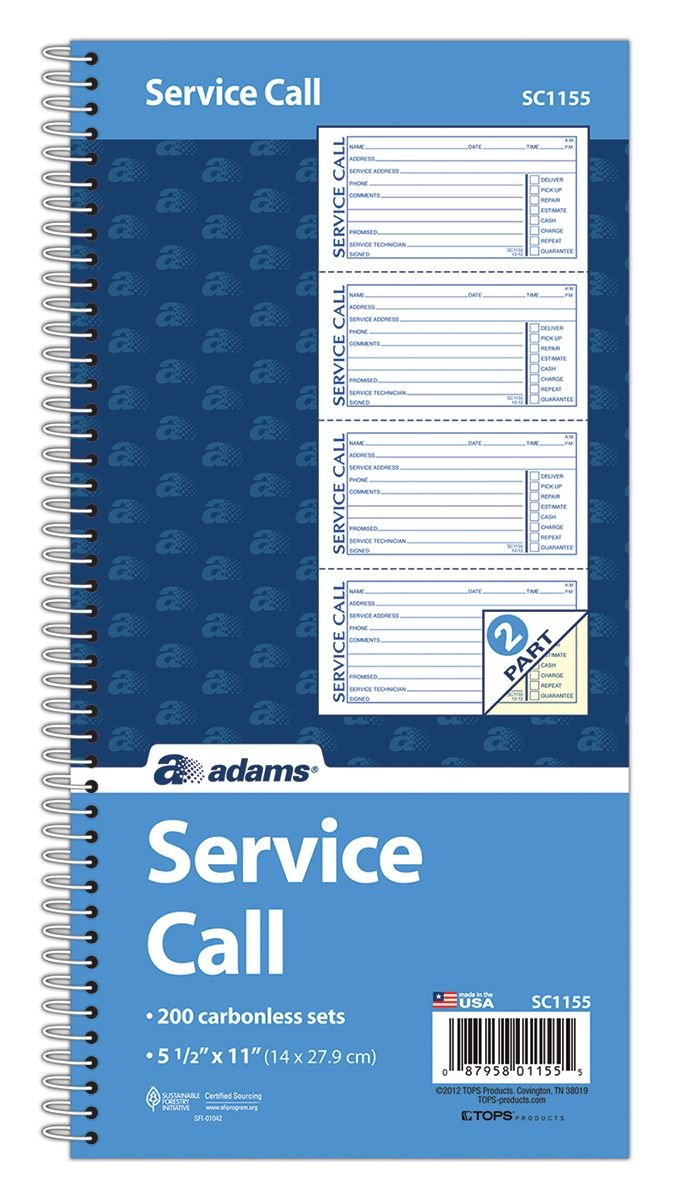Adams Service Call Book, 5.25 x 11 Inch, Spiral Binding, 2-Part, Carbonless, 4 Messages per Page, 200 Sets, White and Canary (SC1155)