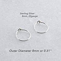 Extra Small 8mm or 0.31 Inch Outer Diameter and Thin 22 Gauge Sterling Silver Handmade Hoop Earrings Shiny Finish