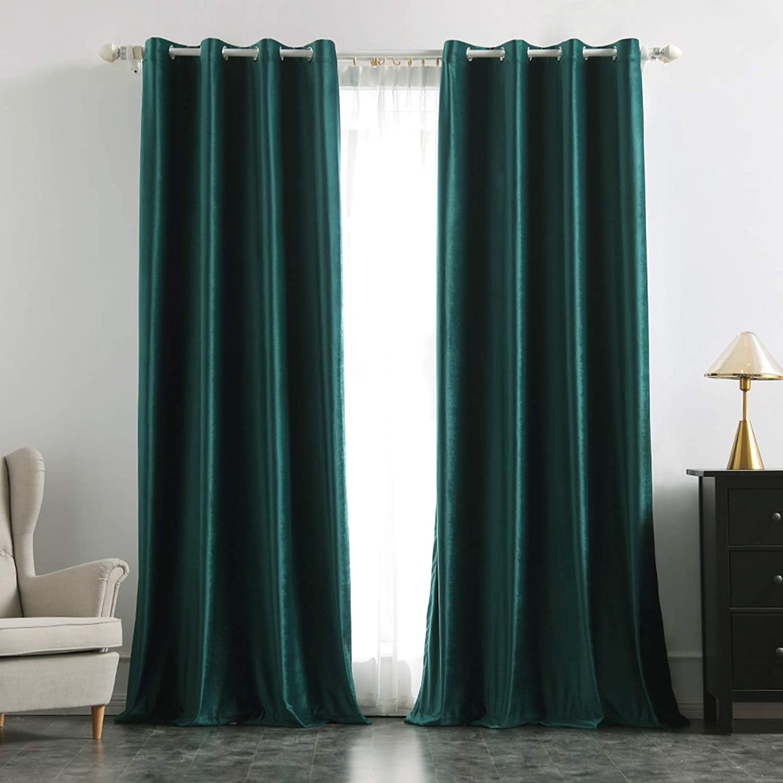 MIULEE 2 Panels Blackout Velvet Curtains Solid Soft Grommet Curtains Thermal Insulated Room Darkening Curtains Drapes Panles for LivingRoom Bedroom Dark Green 55