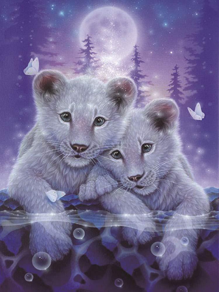 Adouftwo Nuevas Pinturas de Diamante DIY Punto de Cruz Gatos patrón Tigre Animal Diamante Bordado Diamante Imagen del hogar decoración