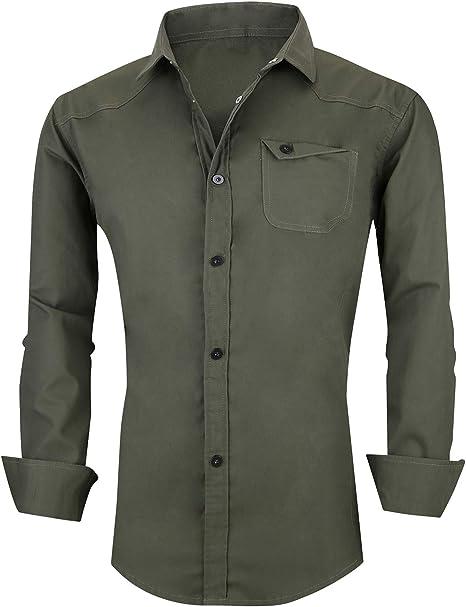 FRTCV Mens Military Shirt Slim Fit Tactical Button Down Dress Shirts