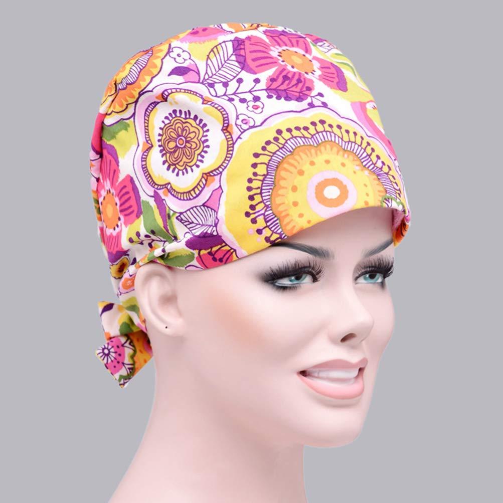 TENDYCOCO Copricapo Chirurgico Stampa Regolabile Teschio Cappello Medico Turbante Bouffant per Donna Donna Signora