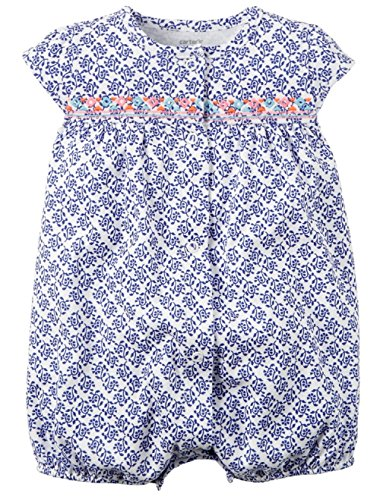 Carters Baby Girls 1-piece Print Snap-Up Cotton Romper (3 Months, Multi/Blue)