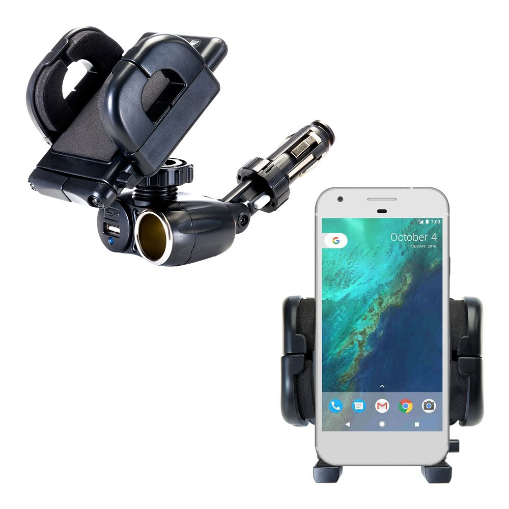 Dual Car Cigarette Lighter Charger Mount and Holder for the Google Pixel XL Features 12V Adapter and Charging USB Port