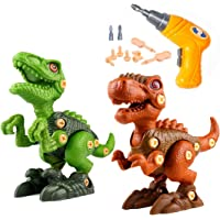 BESOO Take Apart Dinosaur Toy with Electric Drill, 2 Pack Dino Set Kids Learning Toys Include T-Rex and Velociraptor DIY…