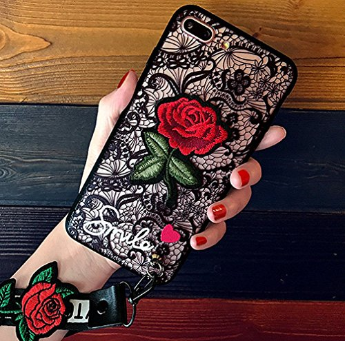 (iPhone 7/8 Plus Embroidery Rose case with Embroidery Rose Wristband Lanyard Lace Hard Case Cover For iPhone 7 Plus/ 8 Plus-Red)