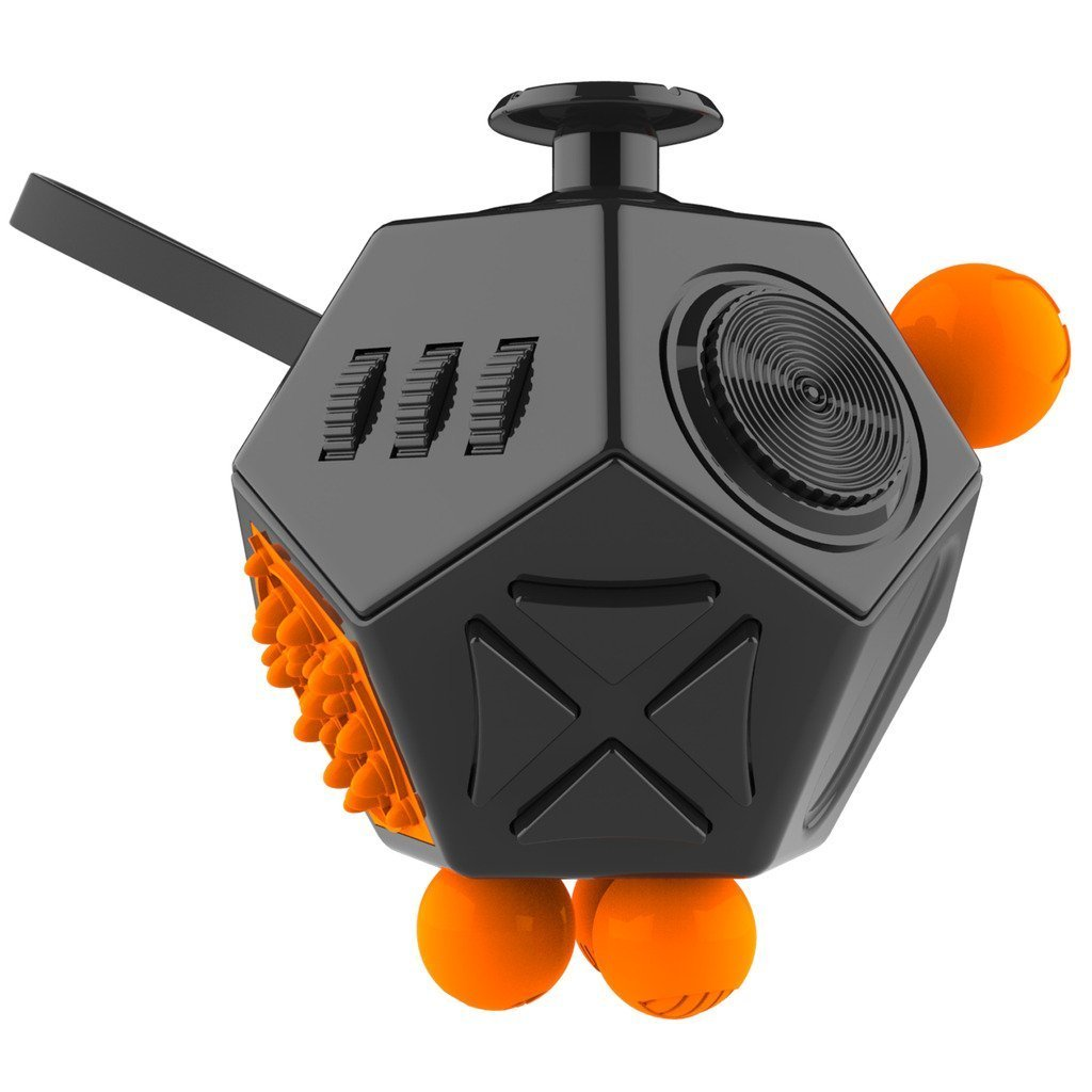 Weemboo 12 Sides Fidget Cube, Stress Anxiety and Boredom Relief Weemboo Anti-anxiety and Depression Toys for Children and Adults, Black