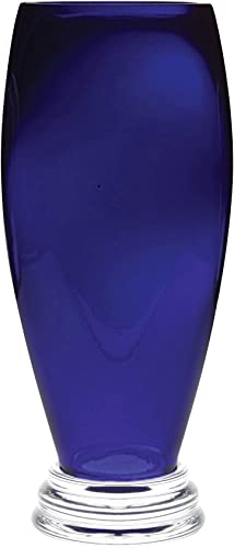 Barski – Handmade Glass – Footed Round Vase – Cobalt – 12 H 12 Inches High Made in Europe