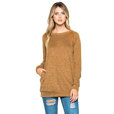 Acting Pro Elbow Patch Long Sleeves Sweater (2X, Mocha) at Amazon Women's Clothing store