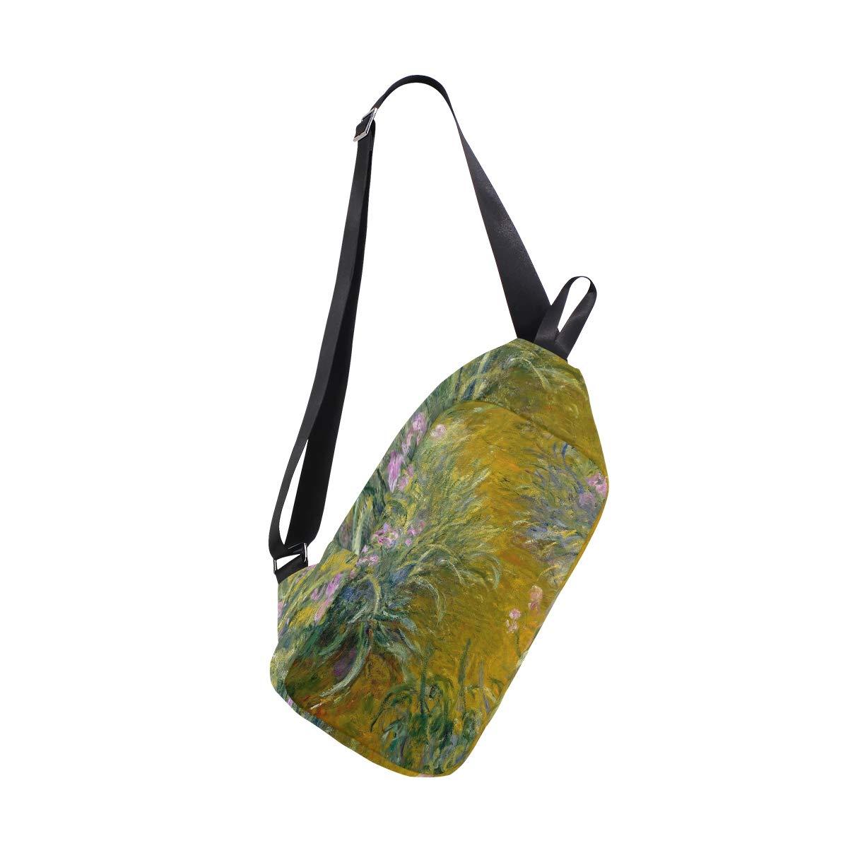 AHOMY Monets Path Through The Irises Messenger Bag Small Travel School Sling Bag Crossbody Bag