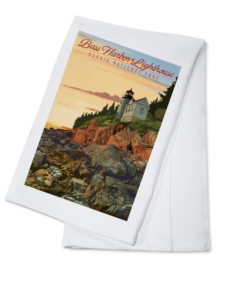 Acadia National Park, Maine - Bass Harbor Lighthouse Illustration (100% Cotton Kitchen Towel)