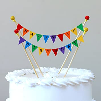 Amazing Buntings1st First Birthday Cake Topper Rainbow Bunting Decoration Adjustable Length