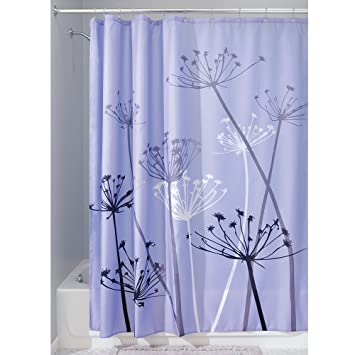 InterDesign Thistle Shower Curtain  Standard Purple and Gray Amazon com